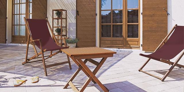 vernis bois chaise, transat, volet